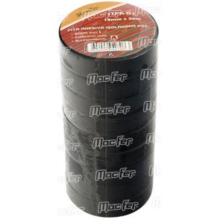 Fita isoladora PVC  MacFer ITFR-01 19mm 20m preta ref. 040.0070 MACFER