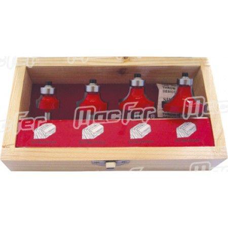 Jg. fresas tupia p/ madeira MacFer FCT04-2 4pçs ref. 059.0001 MACFER