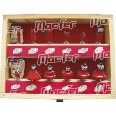 Jg. fresas tupia p/ madeira MacFer FCT12-2 12pçs ref. 059.0004 MACFER