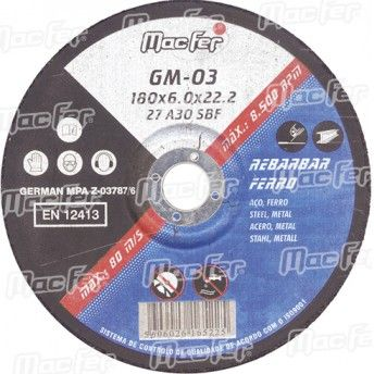 Disco abrasivo rebarbar ferro MacFer GM 115x6,0x22,23mm ref. 165.0020 MACFER