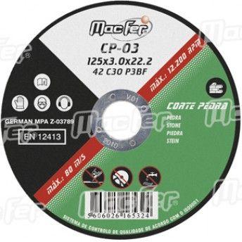 Disco abrasivo corte pedra MacFer CP 115x1,6x22,23mm ref. 165.0031 MACFER