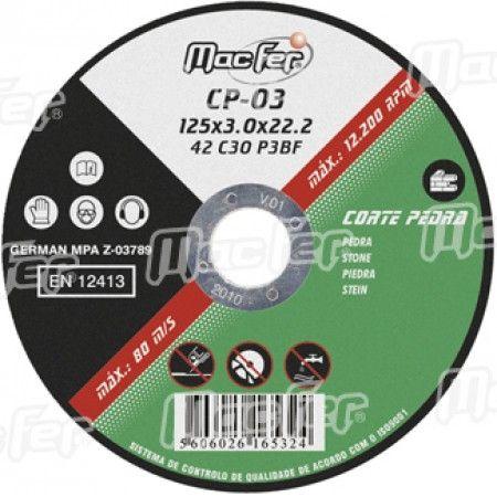 Disco abrasivo corte pedra MacFer CP 230x3,2x22,23mm ref. 165.0034 MACFER