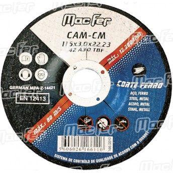 Disco abrasivo corte ferro MacFer CAM-CM 115x3,0x22,23mm ref. 166.0010 MACFER